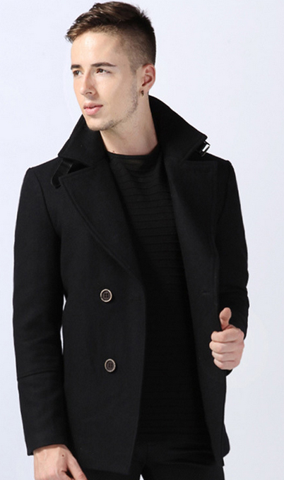 Amazing Black Pea Coats Cool Style With Thick Wool Blend Sale: Get ...