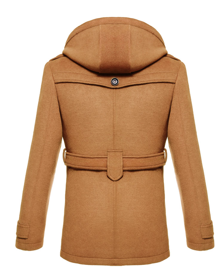_ Brilliant Tan Cashmere Wool Blend Hooded Pea Coat by