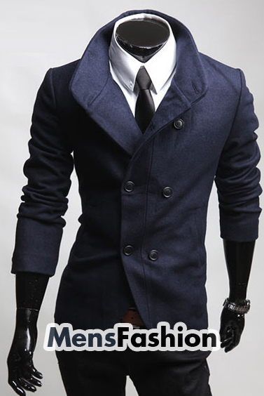 Navy Blue Double Breasted Fashion Pea Coat Sale: Get Mens Navy