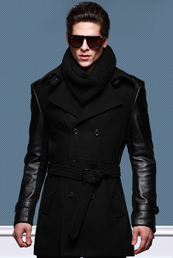 mens pea coat leather sleeves