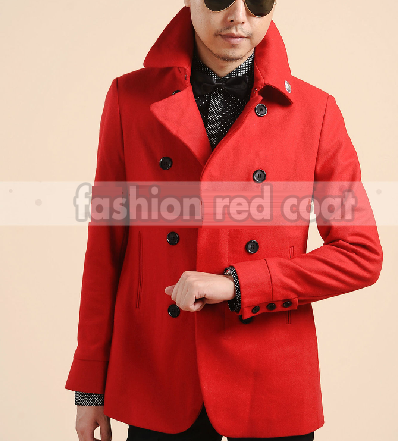Luxury Mens Red Pea Coat