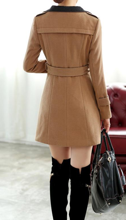 Chic Women Trendy Tan Wool Savvy Trench Pea Coat Sale: Get Mens